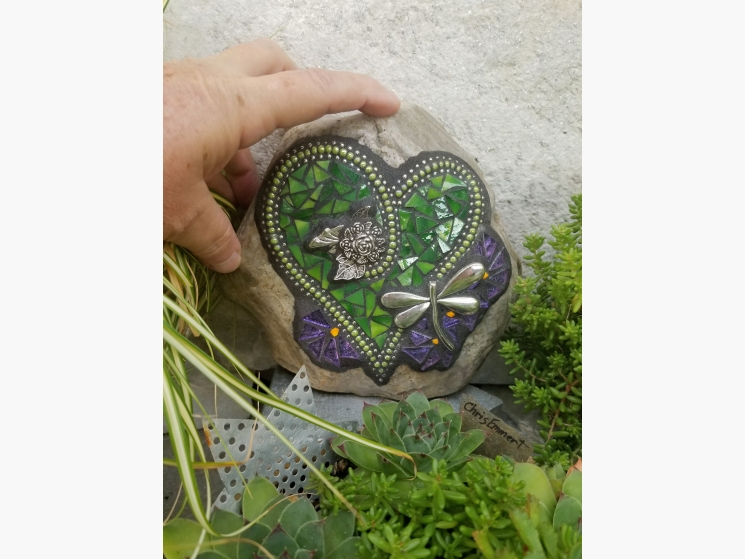 Green dragonfly mosaic heart