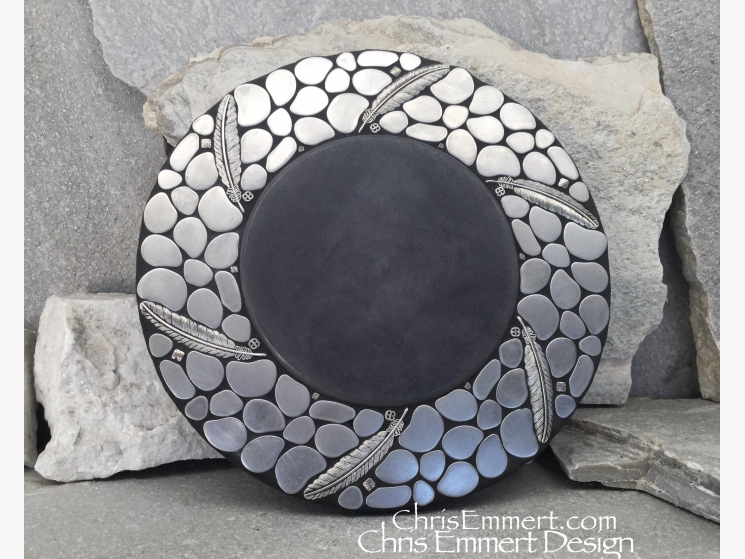 mosaic lazysusan with pewter feathers
