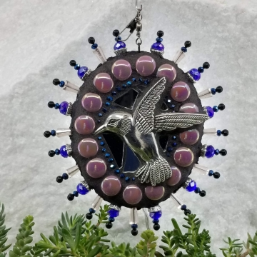 Mosaic Garden Wind Spinner, Hummingbird, Chris Emmert