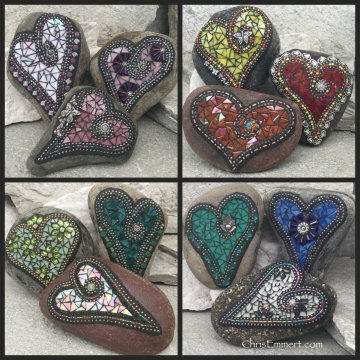 Mosaic hearts on stone