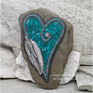 Turquoise Mosaic Heart Garden Stone with pewter feather