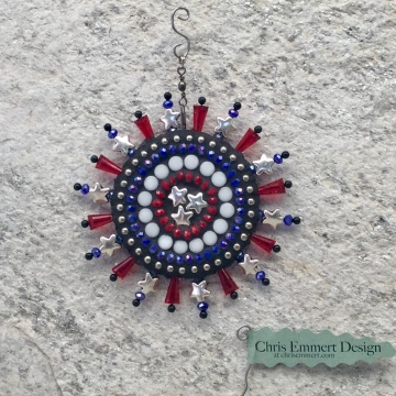 Red, white and blue garden spinner. Americana mosaic