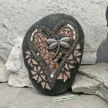 Copper and Bronze Mosaic Heart with Dragonfly
