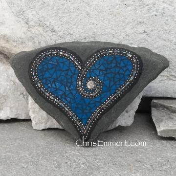 Blue heart mosaic