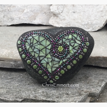 light lime green, mosaic garden stone, heart rock