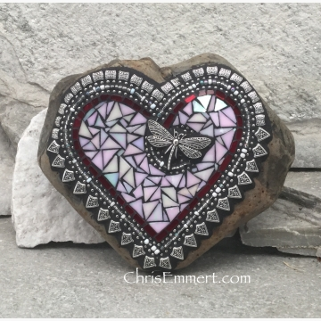 iridescent mosaic dragonfly heart