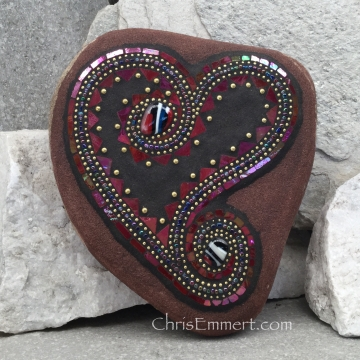Black and red mosaic heart