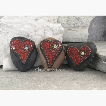 mosaic heart paperweights