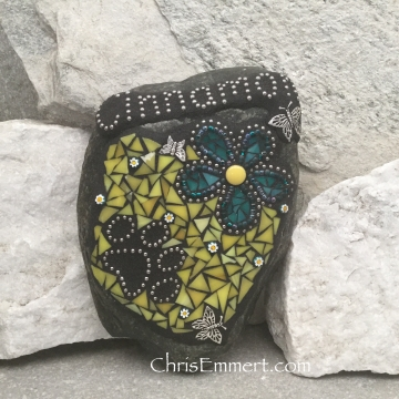 Pet Memorial in Teal and Yellow Garden Stone
