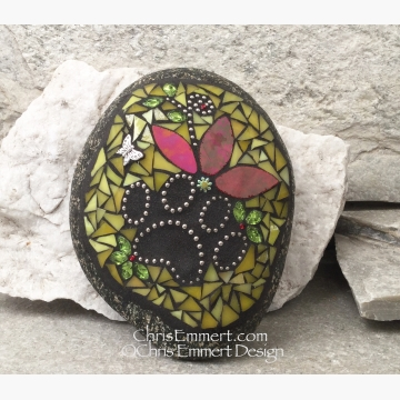 Iridescent Red Flower and Yellow, Black Paw Print - Garden Stone, Pet Memorial,