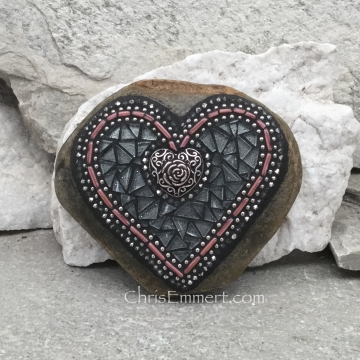 Mosaic heart silver and rose