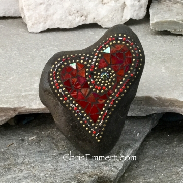 valentine red mosaic heart