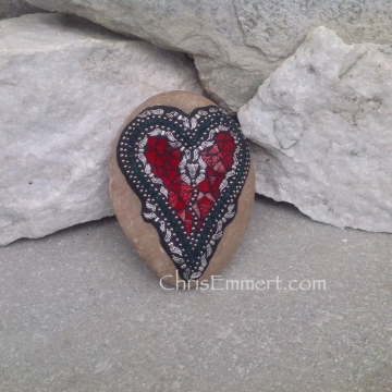 Angel Wing Mosaic Red Heart