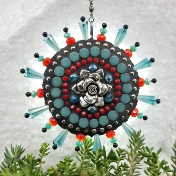 Rose Garden Wind Spinner, Teal and Red Rays, Home Decor, Garden Decor, Gardening Gift,