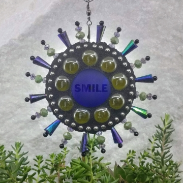 Smile Mosaic Garden Wind Spinner, Home and Garden Decor, Gardening Gift, Suncatcher,