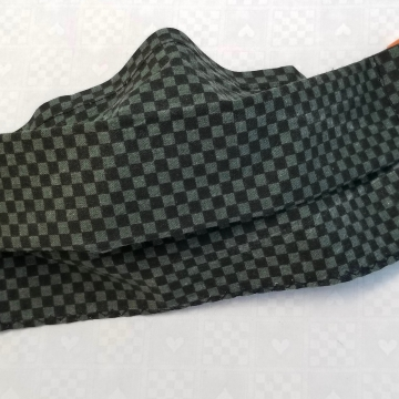 Face Mask Dark Green Check, Latex- Free, Filter Pocket, Nose Clip, Washable, MADE IN USA