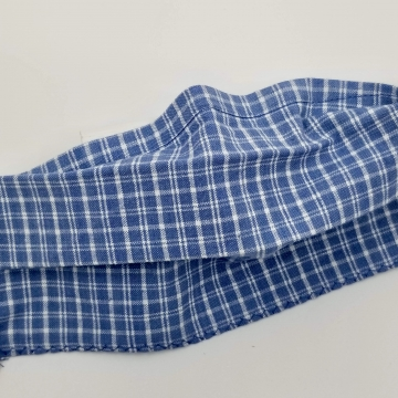 Cotton Face Mask, Blue Plaid, Latex- Free, Filter Pocket, Nose Wire, Washable,