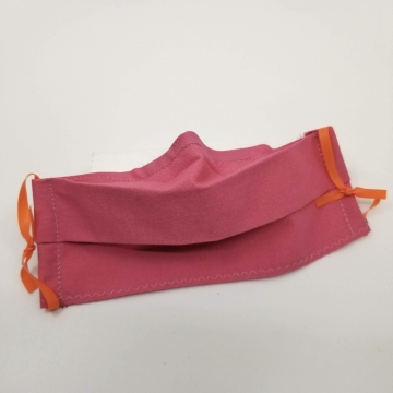 Cotton Face Mask, Dark Pink, Latex- Free, Filter Pocket, Nose Wire, Washable,