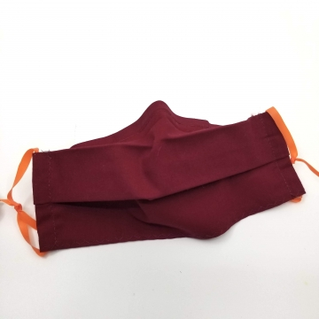 Cotton Face Mask, Dark Red, Latex- Free, Filter Pocket, Nose Wire, Washable,