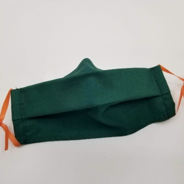Cotton Face Mask, Dark Green, Latex- Free, Filter Pocket, Nose Wire, Washable,