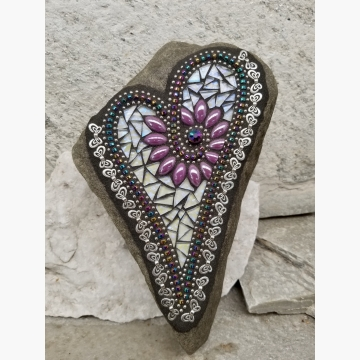 Iridescent Lavender Heart with Butterflies, Garden Stone, Mosaic, Garden Decor