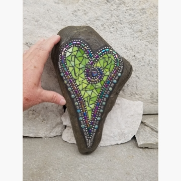 Lime Green Heart Mosaic Garden Stone,  Garden Decor