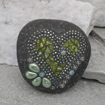 Lime Green Mirror Heart, Garden Stone, Mosaic, Garden Decor