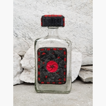 "Mosaic Liquor Bottle ""Red Button"" Up-cycled Decanter"
