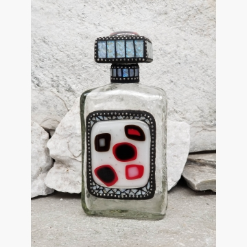 "Mosaic Liquor Bottle ""Card Night"" Up-cycled Decanter"