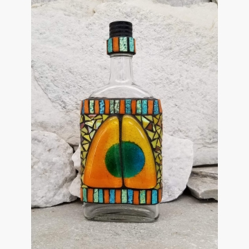 "Mosaic Liquor Bottle ""Twin Sails"" Up-cycled Decanter"