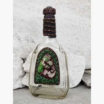 "Mosaic Liquor Bottle ""Woodland"" Up-cycled Decanter"