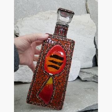 "Mosaic Liquor Bottle ""On Fire"" Up-cycled Decanter"
