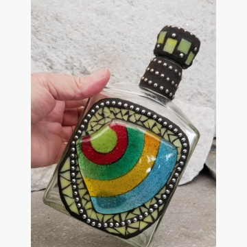"Mosaic Liquor Bottle ""Aloha"" Up-cycled Decanter"