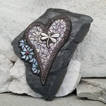 Iridescent pink and Light Lavender Wall Hanging Heart, Mosaic Garden Stone, Porch Decor, Wall Decor, Dragonfly