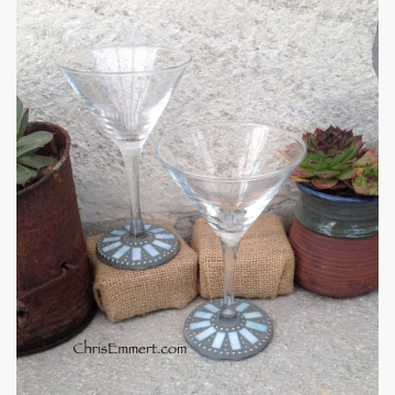 Iridescent Pale Blue and Silver Mosaic Martini Glass Pair