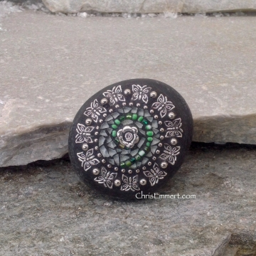 White and Green Circle Swirl - Mosaic Paperweight / Garden Stone
