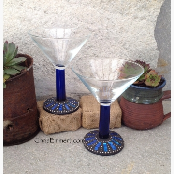 Cobalt Blue and Gold Mosaic Martini Glass Pair