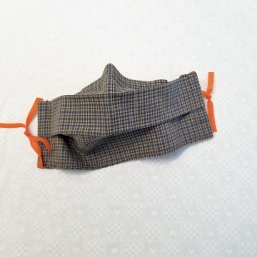 Face Mask In Denim Blue Plaid, Latex- Free, Filter Pocket, Nose Clip, Washable, MADE IN USA