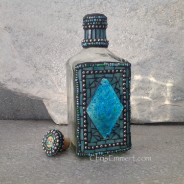 "Mosaic Liquor Bottle ""Blue Diamond"" Up-cycled Decanter"