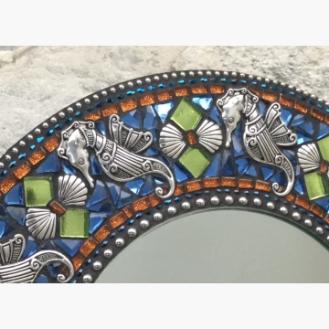 Seahorse and Shells Mosaic Mirror, Round Mosaic Mirror, Home Decor