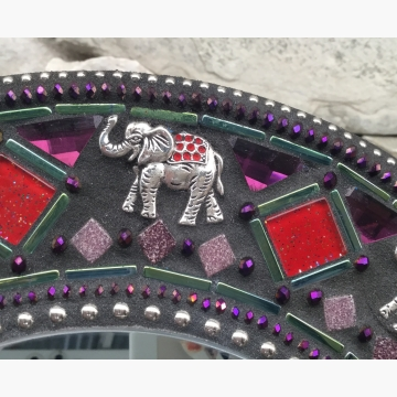 Elephant Walk Mosaic Mirror, Round Mosaic Mirror, Home Decor