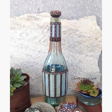 "Mosaic Liquor Bottle ""Cool Breeze"" Up-cycled Decanter"