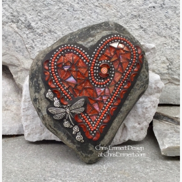 Orange Dragonfly Heart, Garden Stone