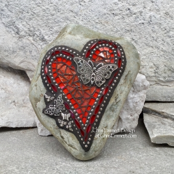 Orange Butterfly Heart, Garden Stone