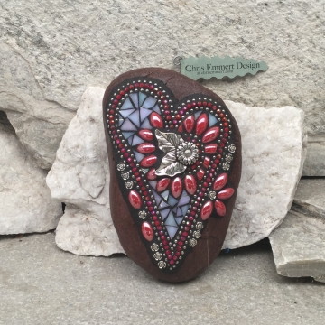 Iridescent Red Flower Mosaic Heart, Garden Stone, Mosaic, Garden Decor
