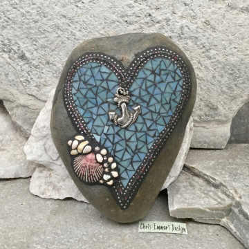 Love is an Anchor / Heart -Mosaic / Garden Stone