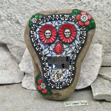 Dia de los Muertos / Day of the Dead / Skull Mosaic  / Garden Stone (3)