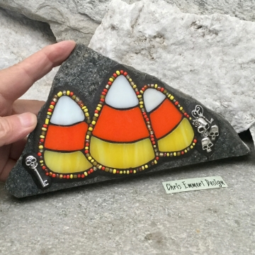3 Candy Corn Mosaic on Gray Stone / Garden Stone