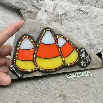 3 Candy Corn Mosaic on White Stone / Garden Stone