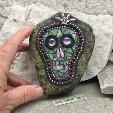 Purple and Green Skull / Day of the Dead / Skull Mosaic  / Garden Stone